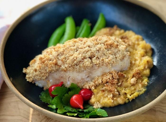 receita de peixe em crosta de castanhas