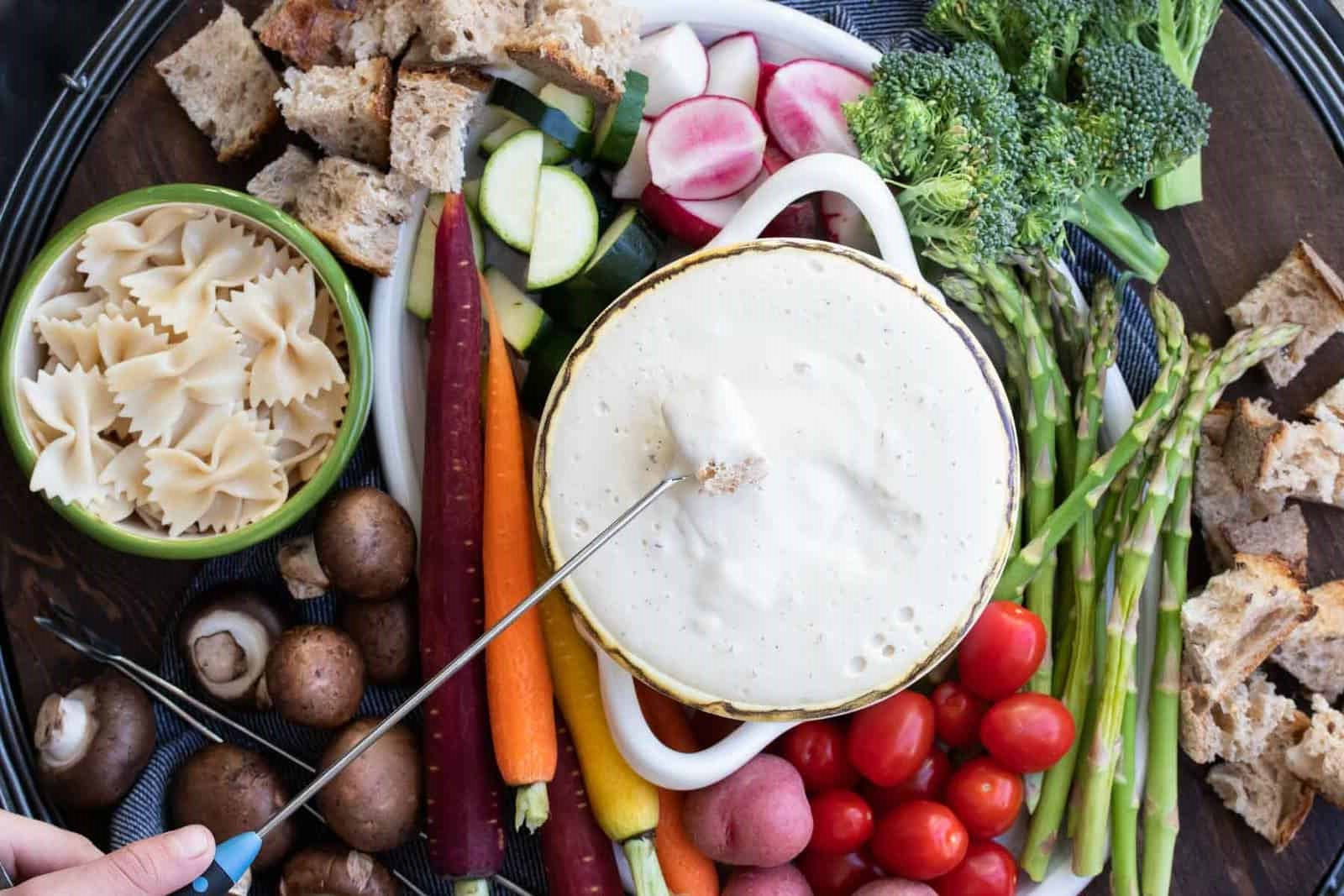 receita de fondue de queijo vegano